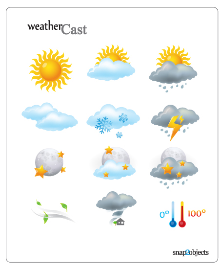 солнце, облака, термометр, температура, погода, снег, молния, дождь, ветер, луна, клипарт, иконки,EPS формат, AI формат, формат SVG