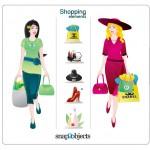 Вектор покупки, товары, парфюмерия, женщины, серьги, туфли.