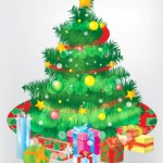 Новый год, подарки, елка , звезда, игрушки. Вектор. Открытка.