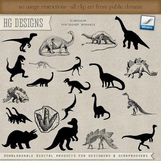 динозавры, кисти для фотошоп, кости динозавров