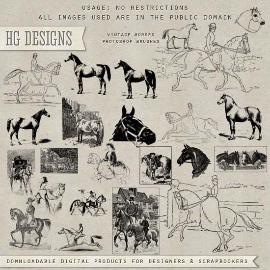 кони, лошади, старые картинки, винтаж, кисти для фотошоп, скачать, бесплатно