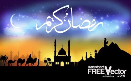 Священный Рамазан, рамадан. Ислам. Восток в векторе.