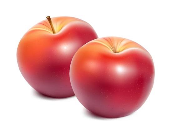 Красные яблоки на белом фоне в векторе.