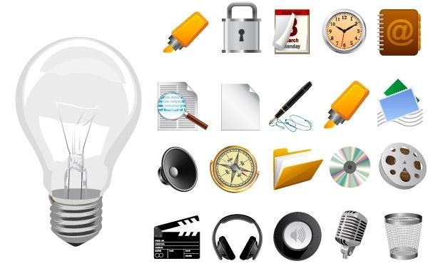 электрическая лампочка, лампа, наушники, микрофон, диск, фломастер, папка, компас, замок, лупа,  иконки в векторе,  EPS
