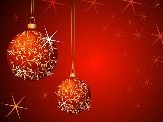 Красный Новогодний фон в векторе. Новогодние шары.