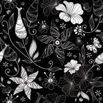 Бесшовный черно- белый ретро цветочный фон в векторе