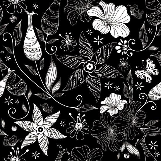 фон, черно-белый, цветы, цветочный фон, цветочный узор, народное искусство, бесшовный фон,  ремесленный, ретро, винтаж, старинный, рисунок, изображение в векторе, EPS
