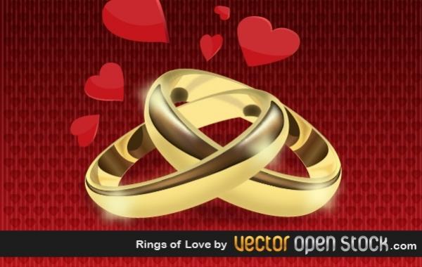 Свадебные кольца. Рисунок в векторе.