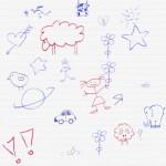 Кисть для фотошопа детские рисунки. Мальчик, девочка, цветочек, сердечки