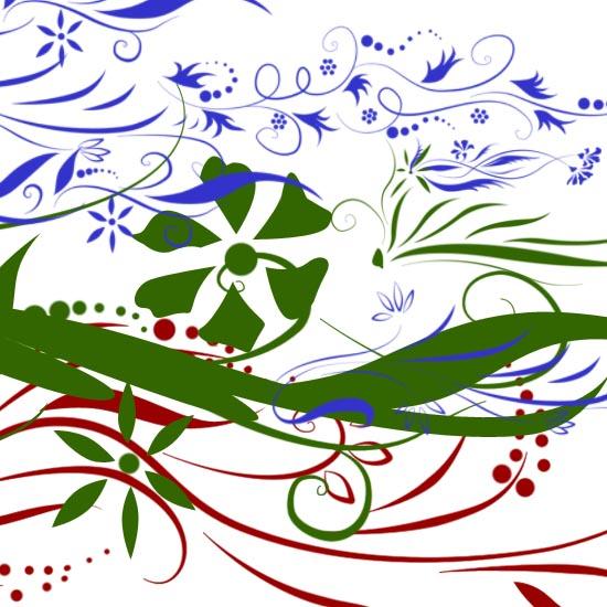 Кисть для фотошоп цветы, лепестки, листья, завитки, растения.