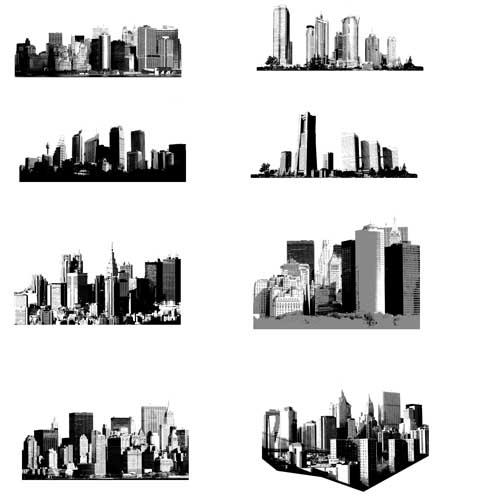 Здания, город, небоскребы. Черно- белая картинка высокого разрешения и кисть . Контур, силуэт.