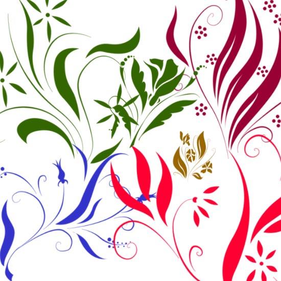 Цветочная кисть для фотошопа. Завитки, лепестки, бутоны, цветочки.