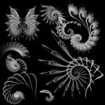 Абстрактные кисти для фотошоп. Крылья, узоры, завитки, фрактал.