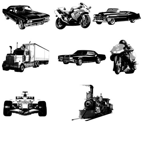 поезд, рельсы,машины, седан, мотоциклы, шлем, трейлер, карт, стекла, фары,колеса, труба, силуэт,черно белая картинка,кисти для фотошопа, транспорт