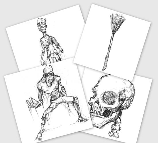 Рисунки карандашом на белом фоне. Эскизы, наброски зомби, черепа, метла.