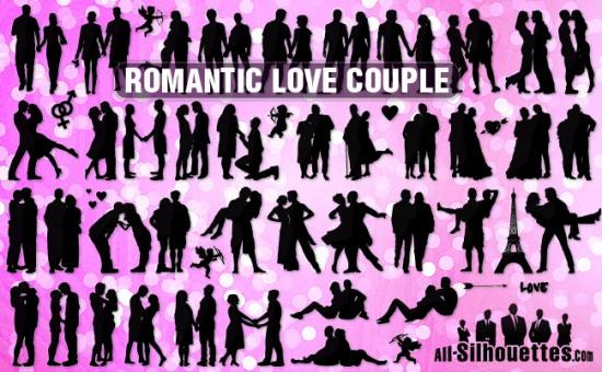 Рисунки влюбленных пар в векторе. Романтика. Силуэт. Трафарет.