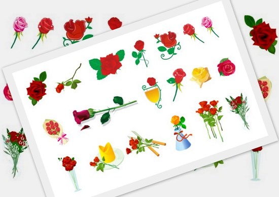 Векторные цветы. Розы. Букет.