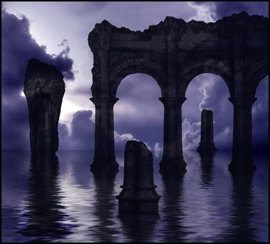архитектура, памятник, развалины, руины, колонны, античный, фэнтези, кисти для фотошоп, скачать, бесплатно