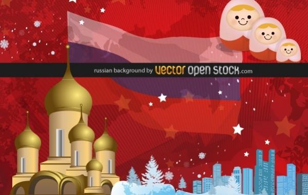 Россия, матрешки, церковь, флаг России, зима, фон в векторе,  AI