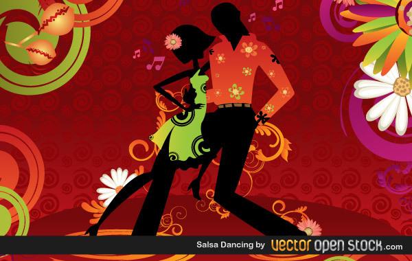 Мужчина и женщина, танцующие сальсу в векторе
