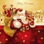 Дед Мороз с мешком подарков в векторе