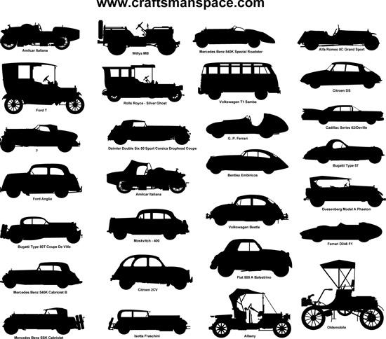 ретро машины, старинные автомобили, клипарт, силуэты, трафареты,  рисунок в векторе,  EPS