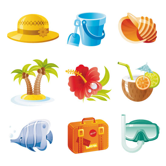 Туризм. Векторный клипарт, иконки. Пальмы, рыбка, чемодан.