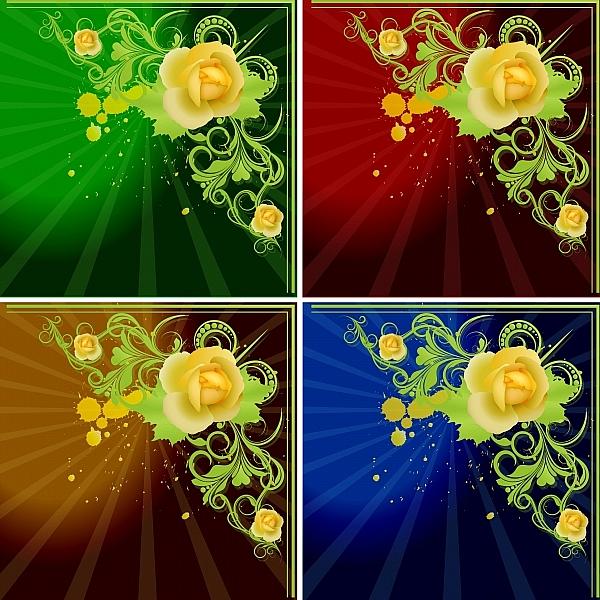 абстрактный дизайн, абстракция, узор,  цветы, роза, угол, ретро, винтаж, виньетка, листья, фон, краски, капли, пятна, открытка, 8 марта, день рожденья, гранж,высокое разрешение