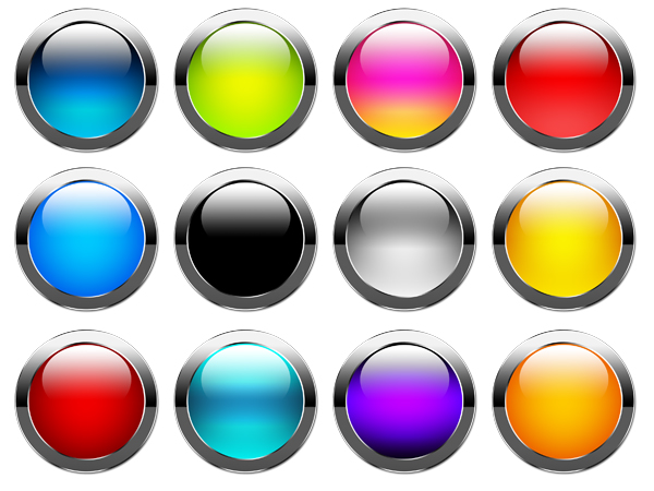 Блестящие , глянцевые кнопки