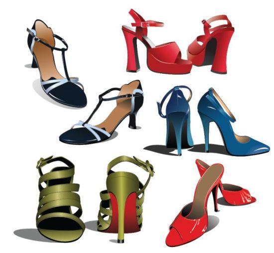 Векторные туфли на высоком каблуке. Обувь. Клипарт.
