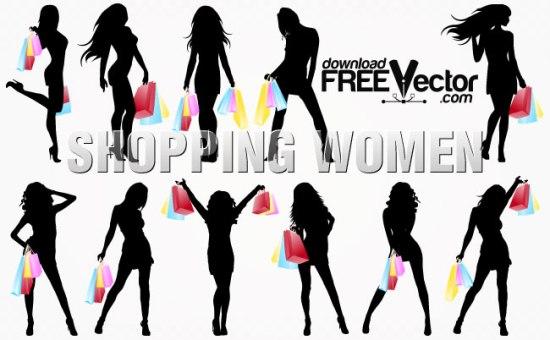 Векторные силуэты девушек с покупками