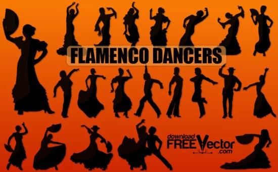 Танец фламенко. Векторные танцоры и танцовщицы. Силуэты.
