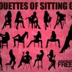Силуэт сидящей элегантной женщины. Силуэты сидящих девушек в векторе.