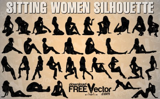 девушки, мода, одежда, позы, сидящие девушки, силуэт, в векторе, SVG, EPS, AI