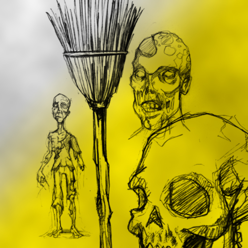 Кисть эскизы, рисунки, контур, зомби, череп, скелеты