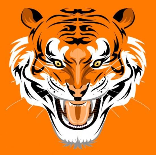 животные, тигр, рисунок тигра,  в векторе, EPS