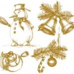 Новогодние рисунки карандашом: снеговик, колокольчики, ветка ели