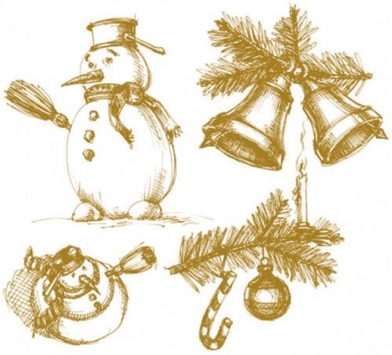 снеговик, колокольчики, ветки ели, Рождество, новый год, новогодние рисунки карандашом,  рисунок в векторе