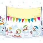 Поздравительный фон семья снеговиков в векторе