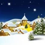 Дома в снегу в векторе