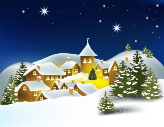 дома, снег, дома в снегу, сугробы, ночь, рисунок, в векторе,  EPS