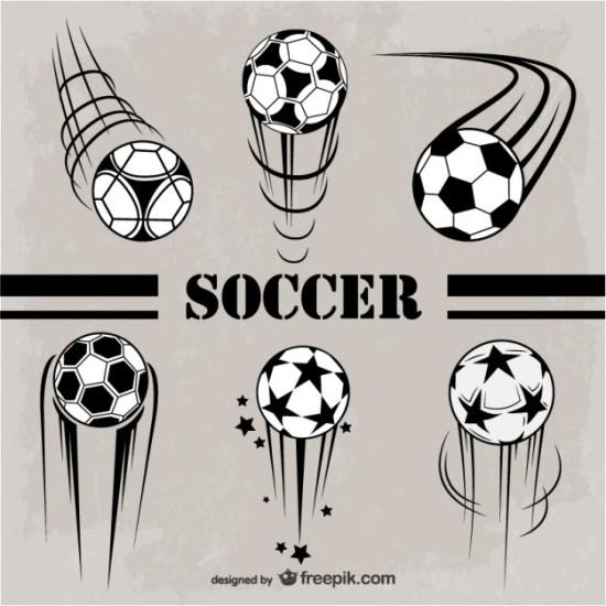 спортивные, футбольные, векторные мячи, летящий, вращающийся, футбольный мяч, рисунок в векторе,  AI, EPS