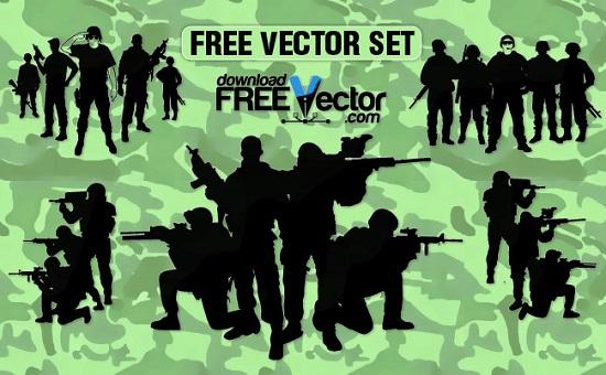оружие, солдаты, военные, снайперы, каски, силуэт, трафарет, вектор