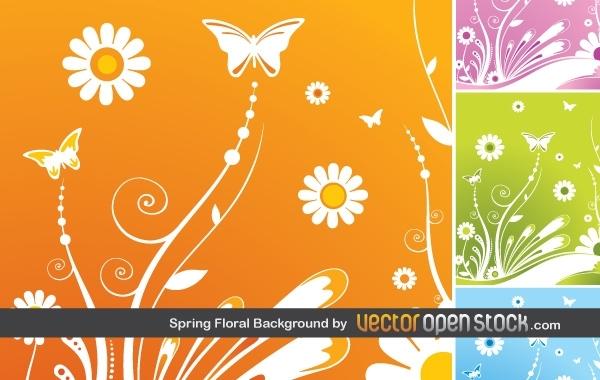 весна, весенний фон, бабочки, цветы, в векторе,  Ai
