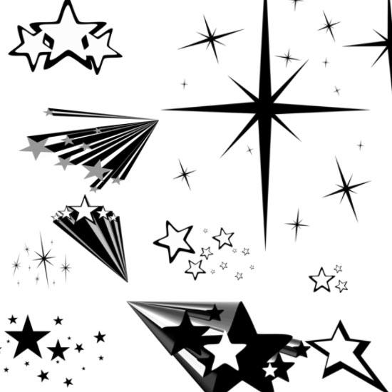Звезды, свет, линии. Кисти для фотошоп.