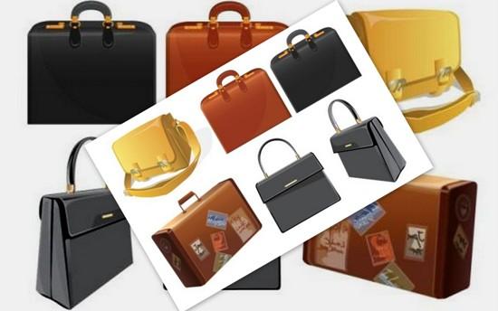 Векторные сумки, чемоданы, портфели. Клипарт.