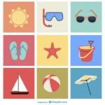 Летний отдых. Солнце, мяч, очки. Иконки в векторе.