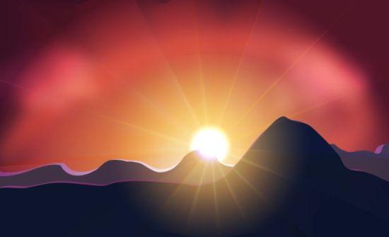 Закат в горах. Векторный рисунок.