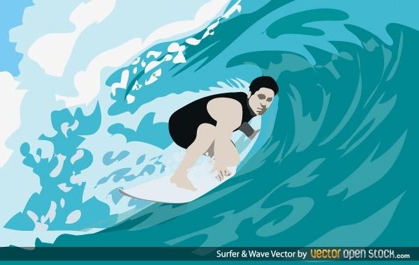 спорт, серфинг, волна,  рисунок в векторе,  AI