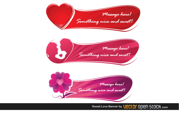 Три баннера любовь в векторе
